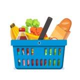 Het winkelen mandhoogtepunt van verse kruidenierswinkels Stock Afbeeldingen