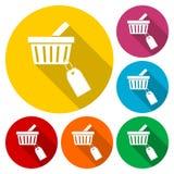 Het winkelen mandpictogram, markeringspictogram vector illustratie
