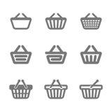 Het winkelen mandpictogrammen Royalty-vrije Stock Afbeeldingen