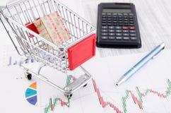 Het winkelen mandstuk speelgoed op bedrijfsdocumentenachtergrond Stock Foto's