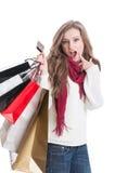Het winkelen meisje het benieuwd zijn Stock Afbeelding