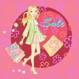Het winkelen meisjes jonge sexy vectorillustratie Stock Afbeeldingen