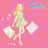Het winkelen meisjes jonge sexy vectorillustratie Stock Foto's