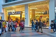 Het winkelen menigte Stock Foto