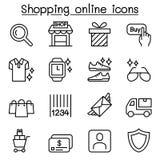 Het winkelen online die pictogram in dunne lijnstijl wordt geplaatst Stock Fotografie