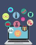 Het winkelen online door de computer Royalty-vrije Stock Foto's