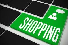 Het winkelen op zwart toetsenbord met groene sleutel Stock Foto's