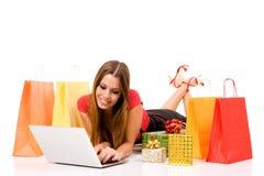 Het winkelen over Internet Stock Fotografie
