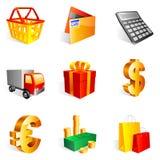 Het winkelen pictogrammen. royalty-vrije illustratie