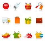 Het winkelen pictogrammen Stock Fotografie