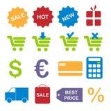Het winkelen pictogrammen Royalty-vrije Stock Foto's