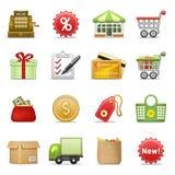 Het winkelen pictogrammen. Stock Foto