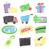 Het winkelen pictogrammen Stock Foto's