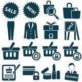 Het winkelen pictogrammen, Stock Afbeelding