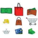 Het winkelen pictogrammen Stock Foto