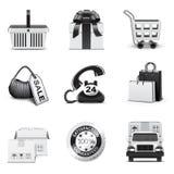 Het winkelen pictogrammen | B&W reeks Royalty-vrije Stock Foto's