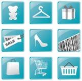 Het winkelen pictogrammen geplaatst Vectorontwerp Stock Fotografie