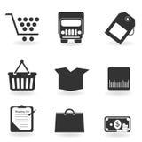 Het winkelen pictogrammen in grayscale Royalty-vrije Stock Afbeelding