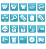 Het winkelen pictogrammen op blauwe vierkanten Stock Afbeeldingen