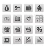 Het winkelen pictogrammen op grijze vierkanten Stock Fotografie