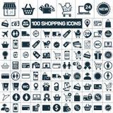 Het winkelen pictogrammen op witte achtergrond worden geplaatst die Royalty-vrije Stock Afbeelding