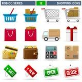 Het winkelen Pictogrammen - Reeks Robico Stock Afbeelding