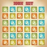 Het winkelen pictogrammen, Retro versie Royalty-vrije Stock Fotografie