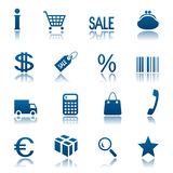 Het winkelen pictogramreeks Stock Foto