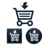 Het winkelen pictogramreeks, geïsoleerde vectorillustraties Stock Fotografie