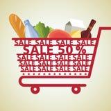 Het winkelen Plantaardige Mand en Voedsel, Royalty-vrije Stock Foto's