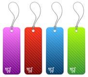 Het winkelen prijskaartjes in 4 kleuren Stock Afbeeldingen