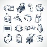 Het winkelen Schetspictogrammen Stock Afbeelding