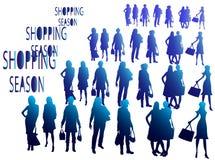 Het winkelen seizoen, mensensilhouetten Royalty-vrije Stock Afbeeldingen