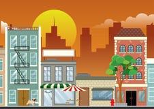 Het winkelen straat de van de binnenstad in de schemer royalty-vrije illustratie