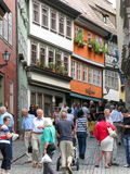 Het winkelen straat in Erfurt, Duitsland Royalty-vrije Stock Foto's
