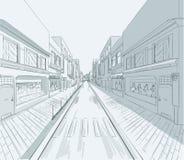 Het winkelen straat met vensterswinkels vector illustratie