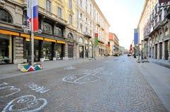 Het winkelen straat in Milaan Stock Fotografie