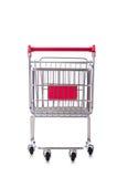 Het winkelen supermarktkarretje op het wit wordt geïsoleerd dat Stock Afbeelding