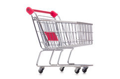 Het winkelen supermarktkarretje op het wit wordt geïsoleerd dat Stock Afbeeldingen