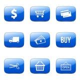 Het winkelen Teken Vierkant Vector Blauw Pictogram Stock Foto