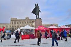Het winkelen tent in Carnaval in het gebied van Moskou Stock Foto