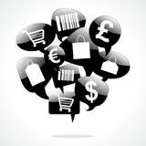 Het winkelen Toespraakbellen Stock Foto's
