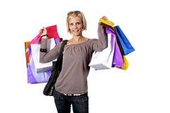 Het winkelen van de blonde Stock Afbeeldingen