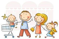 Het winkelen van de familie royalty-vrije illustratie