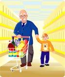 Het winkelen van de grootvader royalty-vrije illustratie