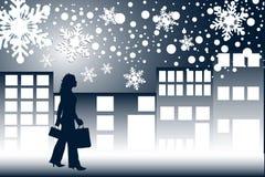 Het winkelen van de kerstnacht Royalty-vrije Stock Foto's