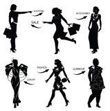 Het winkelen van de manier vrouwensilhouetten Stock Foto's