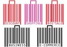 Het winkelen van de streepjescode zak en koffer Stock Foto's