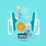 Het winkelen van elektronische handelinternet het mobiele het winkelen betaling opdracht geven tot Stock Foto