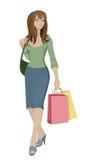 Het winkelen van het meisje Stock Illustratie